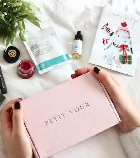 Featured image of a Petit Vour box surrounded by cruelty free beauty items and a christmas card
